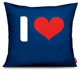 "Kissen Motiv ""I LOVE..."" in blau"